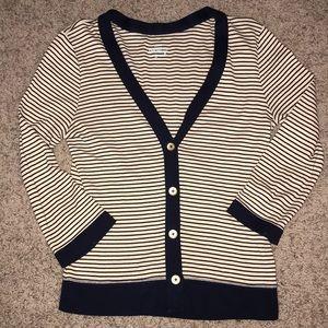 J. Crew Striped Cardigan Sweater Navy Ivory Gold